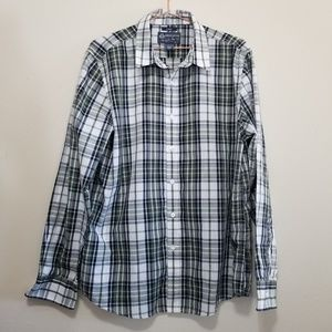 American rag button up, plaid check, dress shirt
